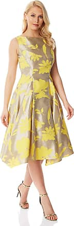 Roman Originals Women Floral Printed Jacquard Midi Dress - Ladies Round Neck Sleeveless Floral Print Special Occasion Wedding Guest Mother of The Bride Groom Outfit D