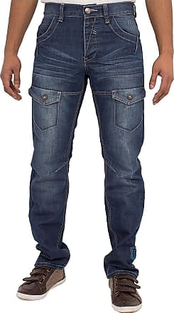 Enzo Jeans Mens Jeans New EZ260 Dark WASH Straight FIT Special Price Jeans Sizes 28-48 (30W x 30L)