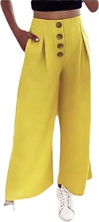 ShuangRun Women High Waist Zip Back Buttoned Front Pleated Wide Leg Pants Yellow S