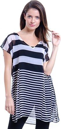 101 Resort Wear Blusa 101 Resort Wear Tunica Decote V Crepe Fendas Estampa Listrado Preta e Branca