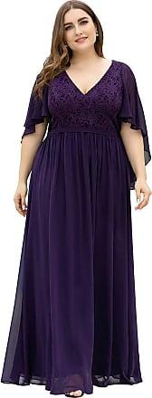 Ever-pretty Womens V Neck A Line Ruffle Sleeves Chiffon Empire Waist Plus Size Maxi Prom Dresses Dark Purple 26UK