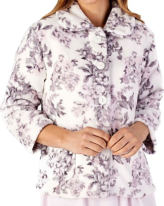 Slenderella Ladies Long Sleeve XX Large Soft Floral Cream Grey & Pink Fleece Button Up Bed Jacket 24 26
