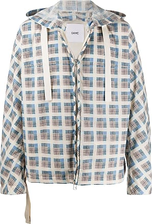 OAMC check-print hooded jacket - Blue