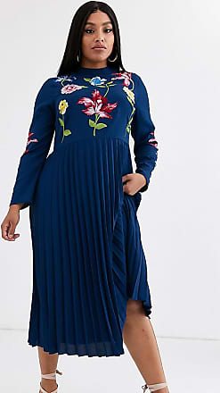 Asos Curve ASOS DESIGN Curve pleated embroidered midi dress-Navy