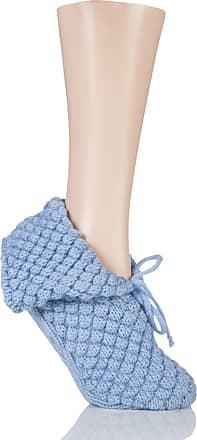 SockShop Ladies 1 Pair SockShop SnugSoles Bootie Slippers with Grip Blue 4-8 Ladies