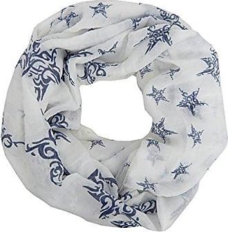 Loop weiß blau Sterne by Ella Jonte Sternen Schal Damenschal Viskose Baumwolle