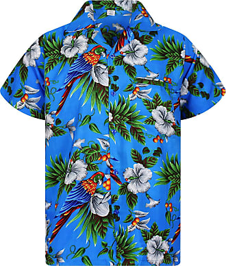 V.H.O. Funky Hawaian Shirt, Bird Cherry, Blue, 4XL