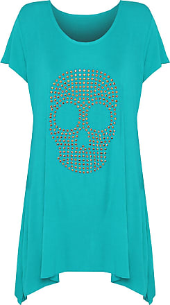 WearAll Womens Plus Size Skull Stud Hanky Hem Bead Long Top Ladies Short Sleeve - Turquoise - 18