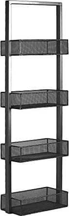 Urban Trends Collection Urban Trends Iron Shelf with 4 Wire Mesh Sides Bins Coated, Gray