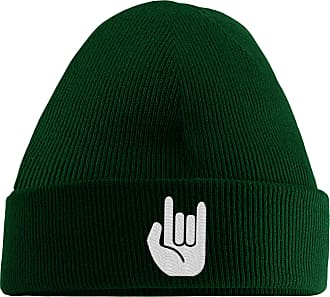 HippoWarehouse Metal Hand Embroidered Beanie Hat Bottle Green