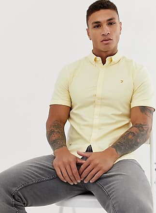 Farah Brewer - Schmales, kurzärmliges Oxford-Hemd in Gelb