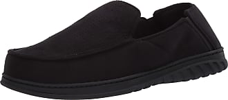 Dearfoams Mens Perforated Moccasin with Gore Slipper, Black, X-Large Wide