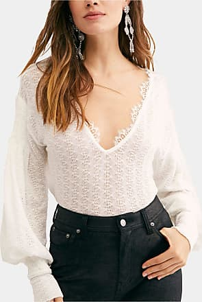 Free People $68 Womens New White Lace V Neck Long Sleeve Casual Top L B+B