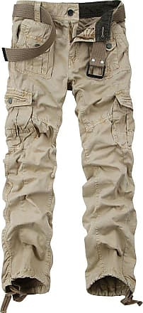 OCHENTA Ochenta mens loose-fit casual trousers water scrubbing cargo pants with multiple pockets made of cotton, 3380 Khaki, 34