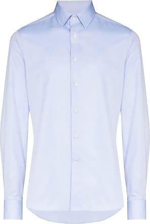 Canali Camisa estruturada de algodão - Azul