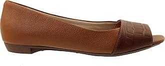Arzon Peep Toe em Couro Legítimo Caramelo com Chocolate - Caramelo/Chocolate - 34