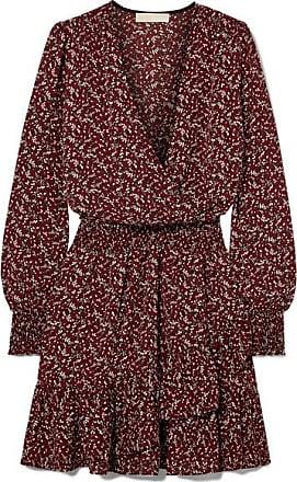 7749ffa77dadc Michael Kors Mini-robe Effet Cache-coeur En Crêpe Imprimée - Bordeaux