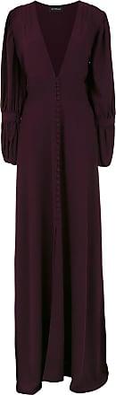 OLYMPIAH Vestido longo Império mangas longas - Burgundy