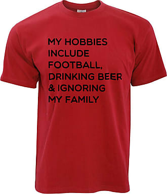 Tim And Ted Novelty T Shirt My Hobbies Include Football, Beer - (Red/Large)
