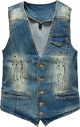 ZongSen Mens Slim Fit Denim Vest Retro Stain Cowboy Waistcoat Sleeveless Ripped Jeans Jacket Gilet Blue 2XL