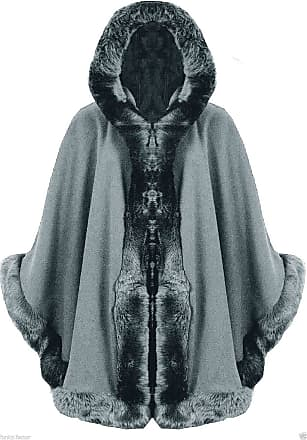 ZEE FASHION Ladies Faux Fur Trim Hooded Capes Ponchos Coat (Silver, One Size)