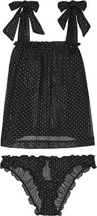 Le Petit Trou Lou Ruffled Glittered Polka-dot Stretch-tulle Pajama Set - Black