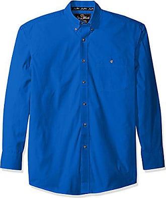 Wrangler Mens George Strait One Pocket Button Long Sleeve Woven Shirt, Royal Blue, XXL