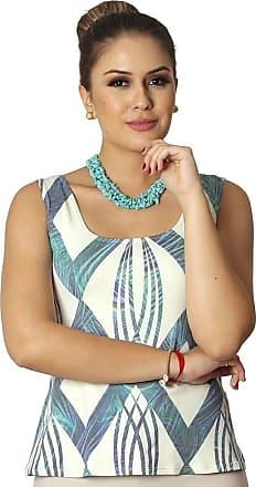 FicaLinda Regata Feminina Estampa Geométrica Exclusiva Azul com Penas de Pavão Decote Redondo Evasê