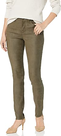 NYDJ Womens Alina Skinny Faux Suede Jeans, Olive, 12