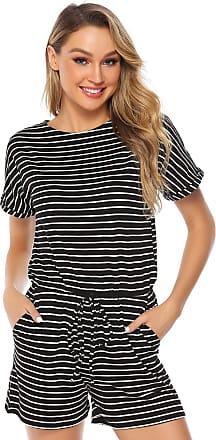 Abollria Playsuits for Women Elegant Short Sleeve Tie Waist Boho Casual Short Romper Jumpsuit Striped XXL