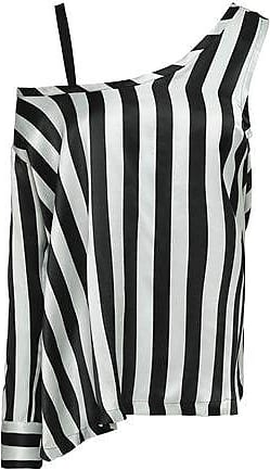Ann Demeulemeester Ann Demeulemeester Woman Asymmetric Striped Silk-satin Blouse Black Size 38