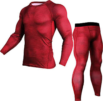 YiJee Mens Quick Dry Fitness Set Base Layer Tops T-Shirts and Tight Running Pants Red XL