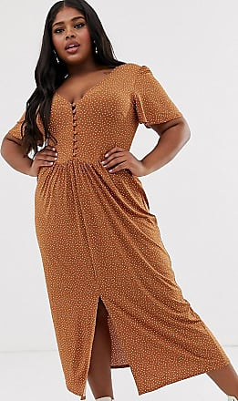 Asos Curve ASOS DESIGN Curve jersey crepe maxi tea dress with self covered buttons in brown spot-Multi