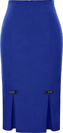 Belle Poque Women Vintage Elegant Solid Stretchy High Waist Pencil Skirt Dark Blue(587-5) Small