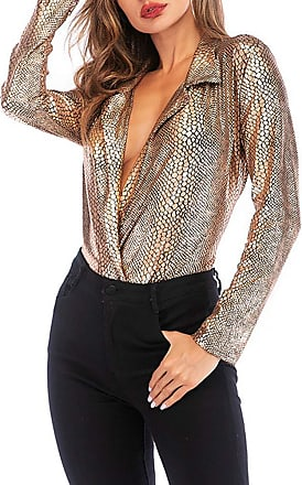 Saoye Fashion Tops Women Fashion Elegant Womens Slim Long Sleeve Deep V Feast Clothing Leopard Jumpsuit Female (Color : Gold, One Size : XL)