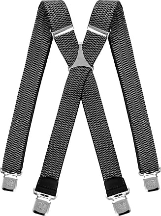 Decalen Mens braces wide adjustable and elastic suspenders X shape with a very strong clips Heavy duty (Grey)