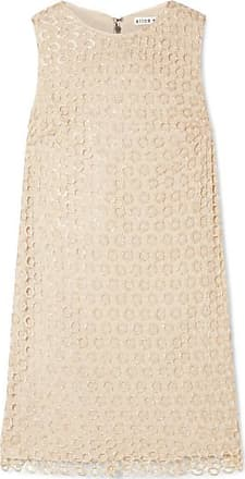 Alice & Olivia Clyde Sequined Crochet-knit Mini Dress - Beige