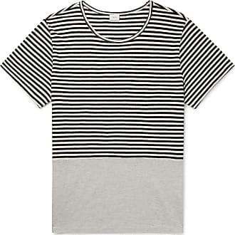 Onia Striped Linen And Modal-blend T-shirt - Gray