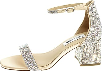 Steve Madden Rhinestone Sandal with Thin Ankle Strap and 6cm Heel Size: 8 UK Rosegold