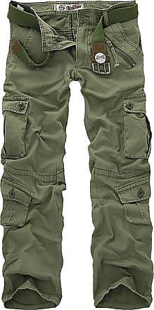 OCHENTA Mens Military Wild Combat Loose Cotton Cargo Multi-Pocket Pants with 8 Pockets 02 Grass Green 30