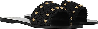Valentino Loafers & Slippers - Rockstud Flats Woven Viscose Raffia Black - black - Loafers & Slippers for ladies
