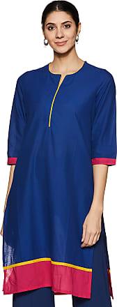 Indigo Womens Straight Cotton Kurta (SS18IND -118_Turquoise_M)