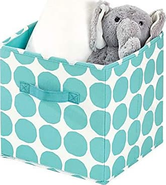 InterDesign Dot Fabric Storage Cube Bin, Small Basket Container with Dual Side Handles for Closet, Bedroom, Toys, Nursery - Teal