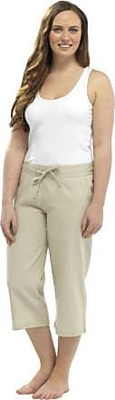 Tom Franks Ladies 100% Linen Cotton Summer 3/4 Three Quarter Length Cropped Trousers Bottoms Pants Tie Waist