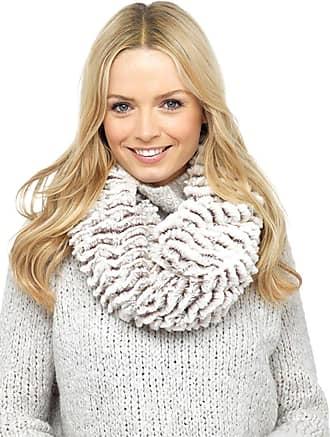 Foxbury Ladies Luxury Fake Faux vegan fur snood Soft Warm Winter Gift Scarf (Beige Stripe)
