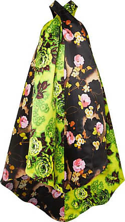 Richard Quinn Asymmetric Floral-print Satin Halterneck Midi Dress - Bright green