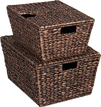 Best Choice Products Set of 2 Woven Water Hyacinth Baskets - Brown