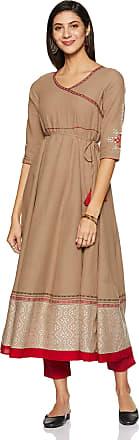 Aurelia Womens Cotton A-Line Kurta (19FEA10710-700150_Brown_Small)