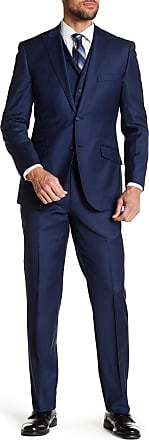 English Laundry Navy Windowpane Two Button Peak Lapel Vested Wool Suit