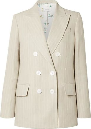 Racil Casablanca Double-breasted Pinstriped Linen Blazer - Beige